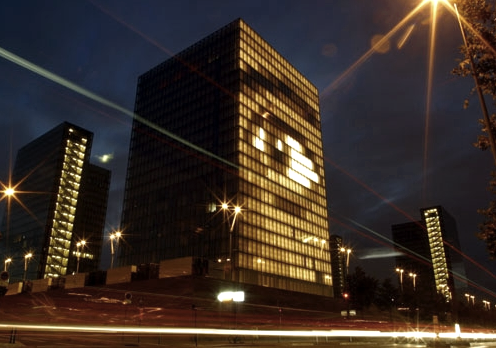 Blinkenlights' work animates buildings with iconic images from blinking eyes to the Mona Lisa to Tetris games